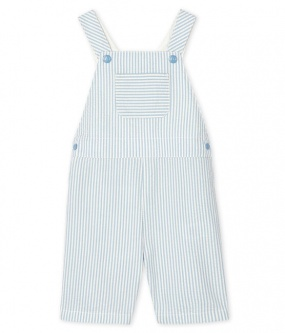 Playsuit krepp striper blå/hvit